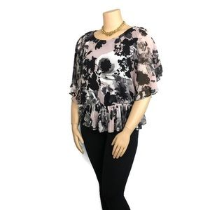 Cb top pink print flower size 16